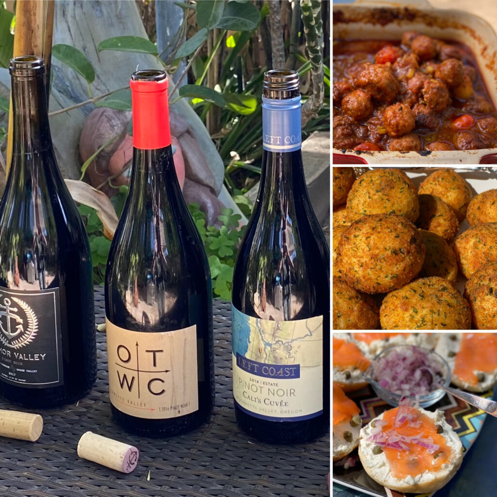 OTWC, Left Coast, and Anchor Valley Pinot Noirs with Cuban Potato Puree, Salmon and Bagel, and Meatballs for Pairings