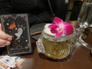 Alchemist Garden Pisces Cocktail in Fish Glass with Tarot Card