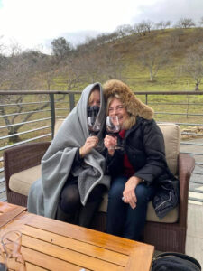 Two of Us Tasting Wine at Adelaide Winery Covered with Blankets and Hooded Coat