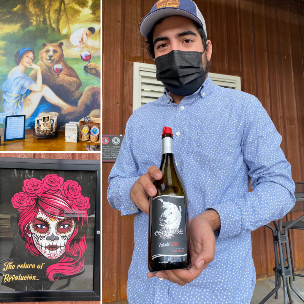 Oso Libre Winemaker Michael, Revolucion Wine Label, and Bear Painting for Symbol of Winery