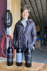 Janis Pelletiere at Pelletiere Winery with Three Wines