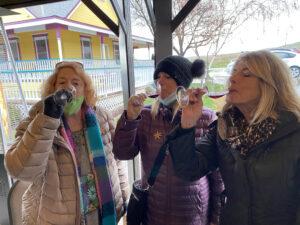 Susan, Kristin, and I tasting some Tobin James Wine
