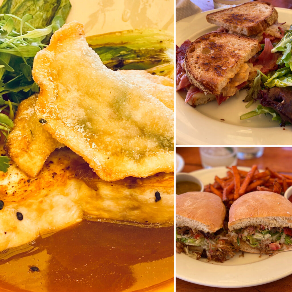 The Grill Main Courses of Reuben, Carnitas, and Swordfish