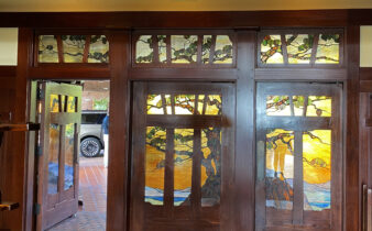 Torrey Pines Lodge Entrance Featuring Torrey Pines Tree in Stained Glass