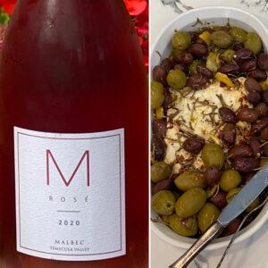 Lorenzi M Rosé with Baked Feta and Sautéed Olives