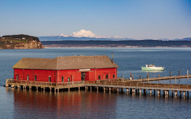 Coupeville Wharf with Mt. Baker in Background
