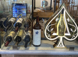 Bottles of Opus One and Champagne Armand de Brignac