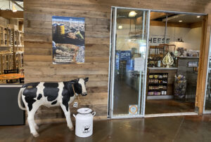 The Cheese Shop with Clementine, the cow, outside