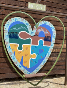 The Camp Heart-Shaped Seat with Love Forever On It