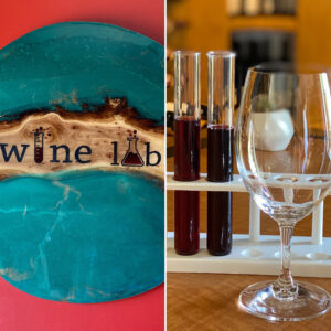 The Wine Lab Sign and Beakers with Wine Glass