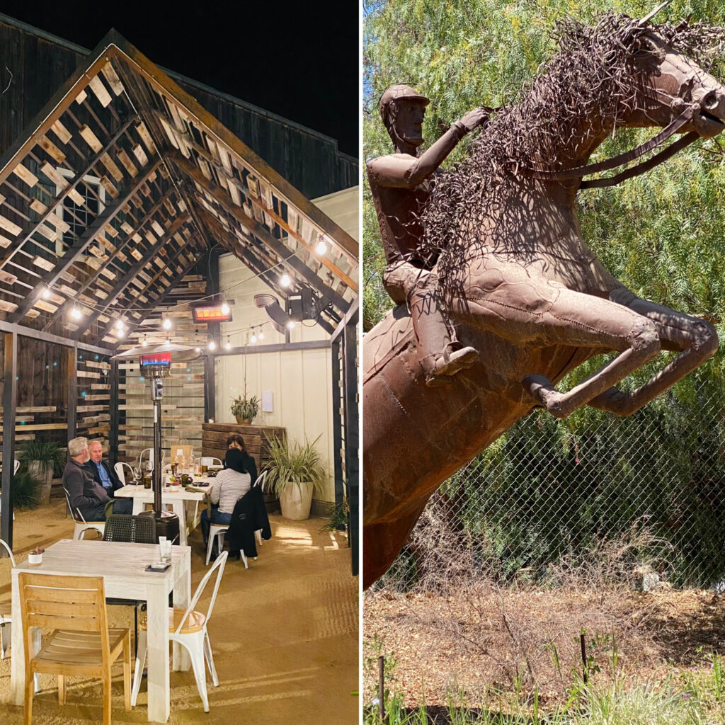 Horse Sculpture and Small Barn Restaurant in Temecula
