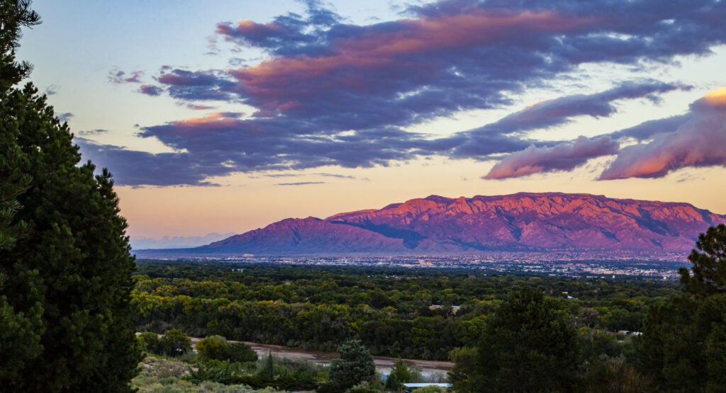 City of Albuquerque Sitting at the Foothills of the Pink-Hued Sandia Mountains by Marble Street Studios