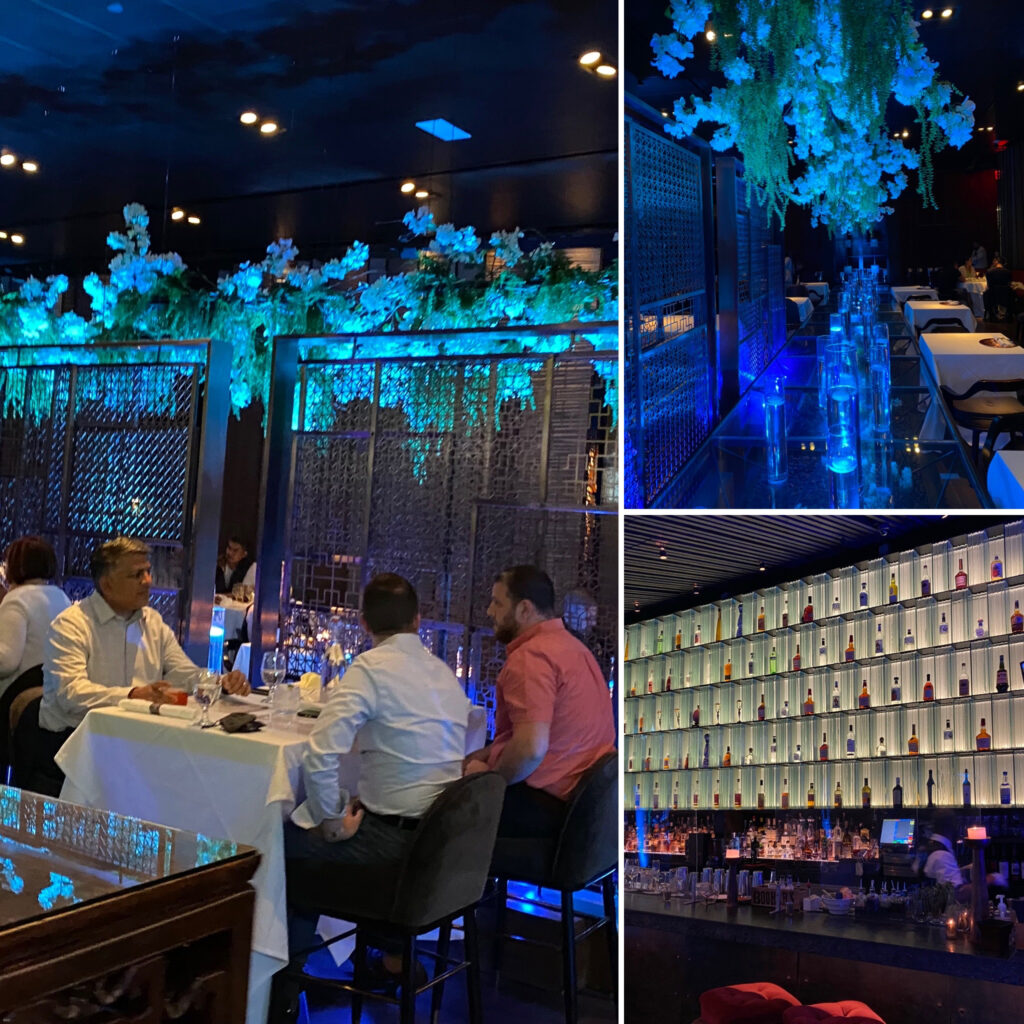 Anqi Interior with Blue Lighting in Dining and Bar Areas