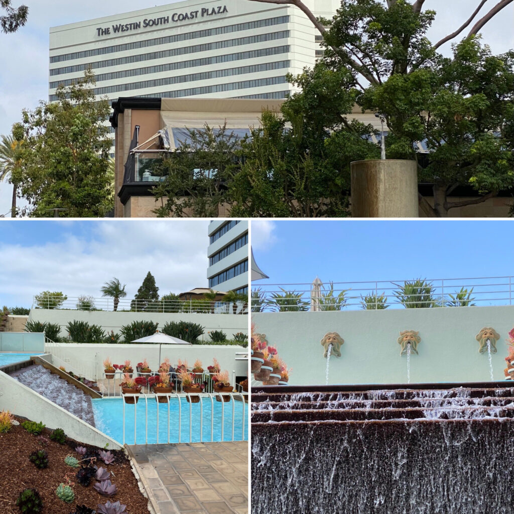 View of Exterior of Westin, View from Second Floor Outside with Pool, and Neptune Spouts
