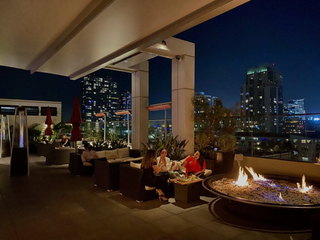 Andaz San Diego Hotel Rooftop with Firepit and City View