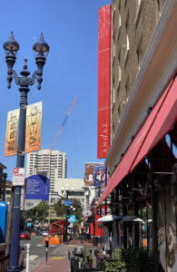 Andaz Hotel Sign Mixed in With Gaslamp Signs